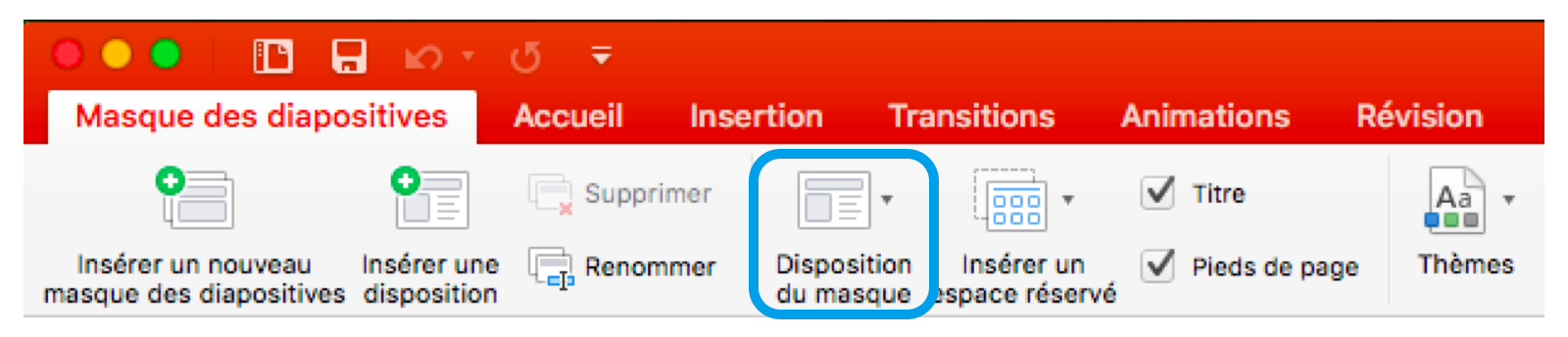 Disposition Masques diapositives